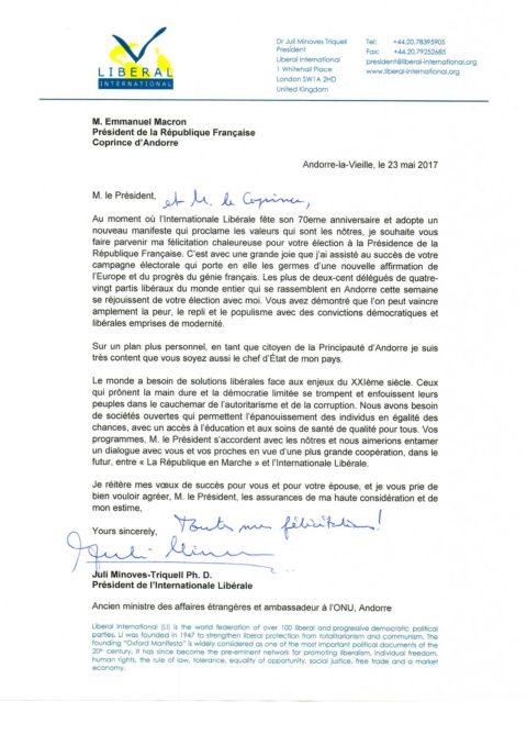 li president writes to emmanuel macron president of france and co